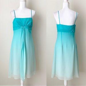 BCBGMaxazria Blue Ombré silk dress